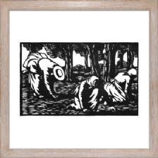 Olive Pickers block 1 - Ready Framed